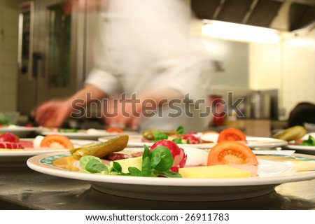 Chef preparing healthy food in kitchen
