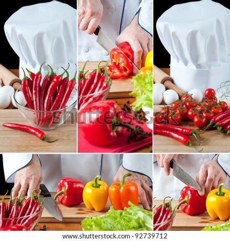 Chef preparing vegetables, collage