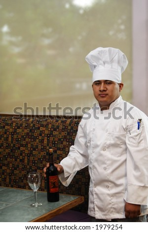 chef preparing wine looking from front