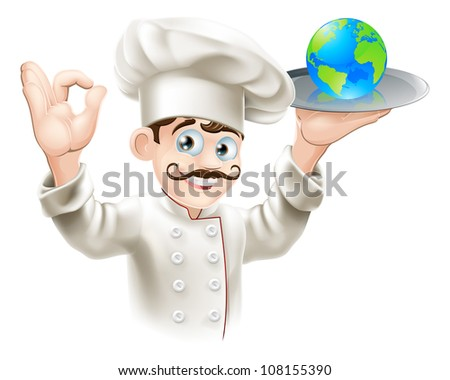 Chef presenting world globe on a plate. Could be business concept for having the world on plate or success and opportunity or alternatively for world food or cuisine
