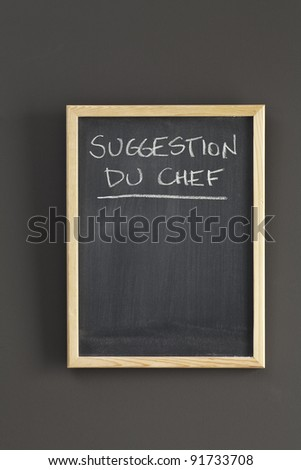 Chef's suggestion sketched on chalkboard