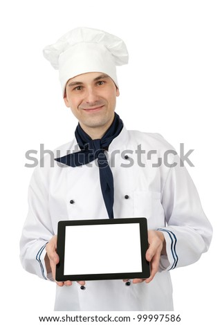 Chef showing a tablet pc with blank screen. Isolated over white background