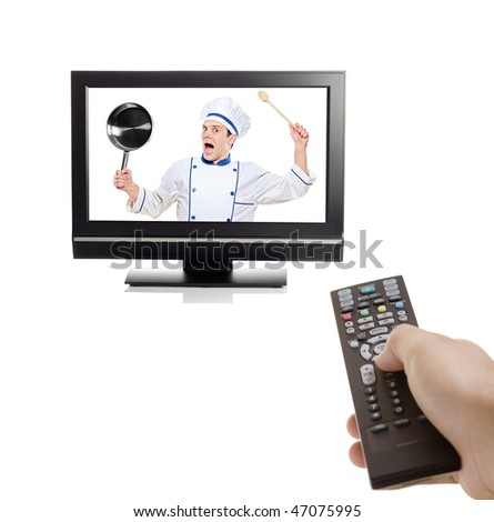 Chef struggling to escape from inside a TV isolated on white background
