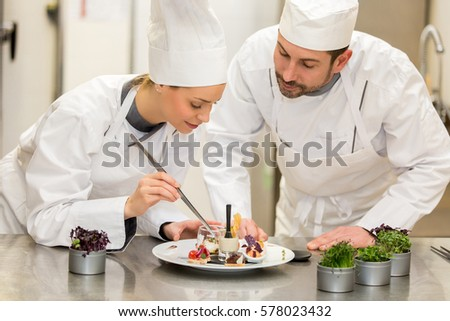 Chef teaching how to cook Stock photo ©