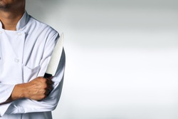 Chef with a knive background with space for text