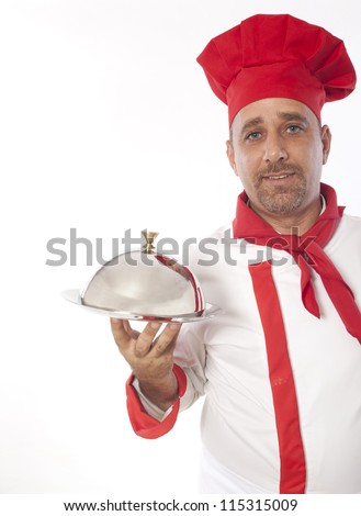 chef with metal cloche lid cover and tray