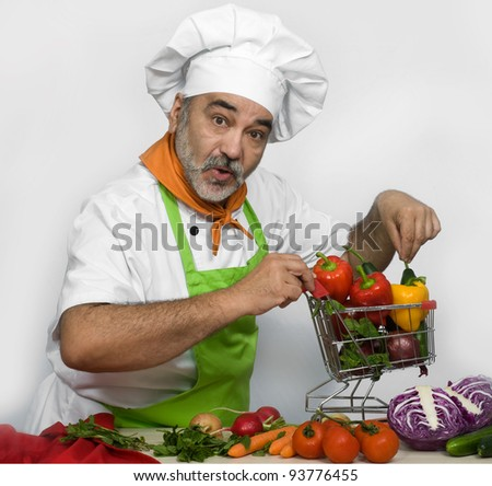 chef with shopping cart
