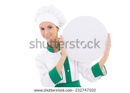 chef woman in uniform holding big  empty plate with copy space isolated on white background