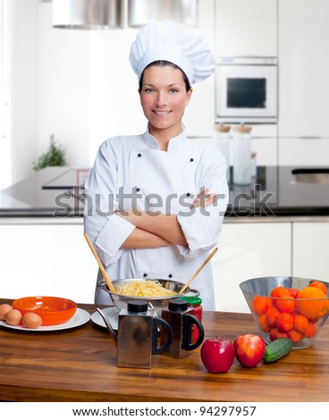 Chef woman portrait with white uniform in the kitchen [ photo-illustration]