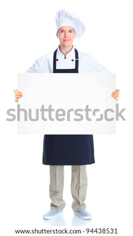 Chef woman with banner. Isolated over white background