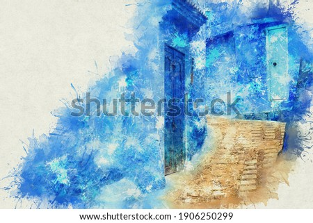 Chefchaouen, a city with blue painted houses. A city with narrow, beautiful, blue streets. Photo stock ©