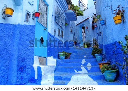 Chefchaouen Blue town Morocco Africa City streets view #1411449137