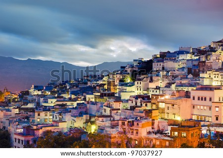 Chefchaouen blue town sunset general view located at northern Morocco - stock photo