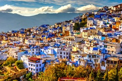 Chefchaouen panorama, blue city skyline on the hill, Morocco