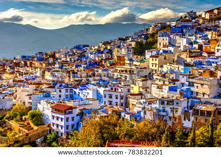 Chefchaouen panorama, blue city skyline on the hill, Morocco Stockfoto ©