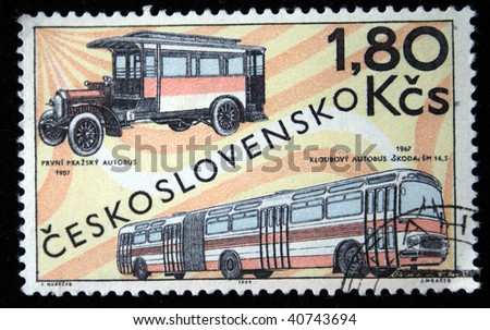 CHEKHOSLOVAKIA - CIRCA 1969: A Stamp printed in Chekhoslovakia shows  First Prague bus 1907 and the bus  Skoda 1967, circa 1969