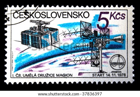 CHEKHOSLOVAKIA - CIRCA 1980s: A Stamp printed in Chekhoslovakia shows space communications, stamp from series honoring Intercocmos program, circa 1980s