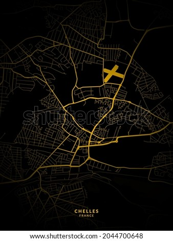 Chelles, France Map - Chelles City Gold Map Poster Wall Art Home Decor Ready to Printable  Photo stock ©