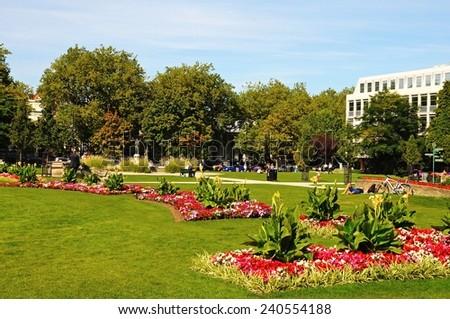 CHELTENHAM, UK - SEPTEMBER 8, 2014 - Colourful flowerbeds in the Imperial Gardens during the Summer, Cheltenham, Gloucestershire, England, UK, Western Europe, September 8, 2014.
