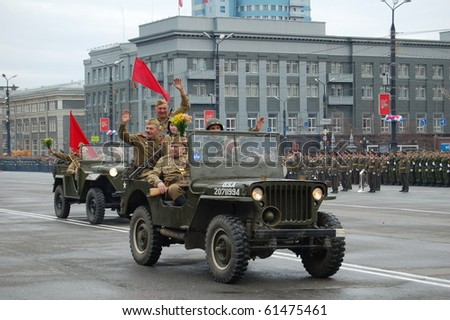CHELYABINSK, RUSSIA - MAY 9: Old auto on parade victory on May 9, 2010 in Chelyabinsk, Russia