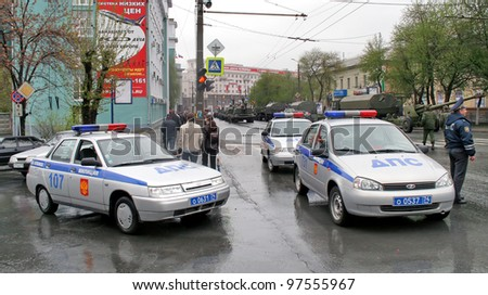 CHELYABINSK, RUSSIA - MAY 9: Police cars exhibited at the annual Victory Parade on May 9, 2008 in Chelyabinsk, Russia.
