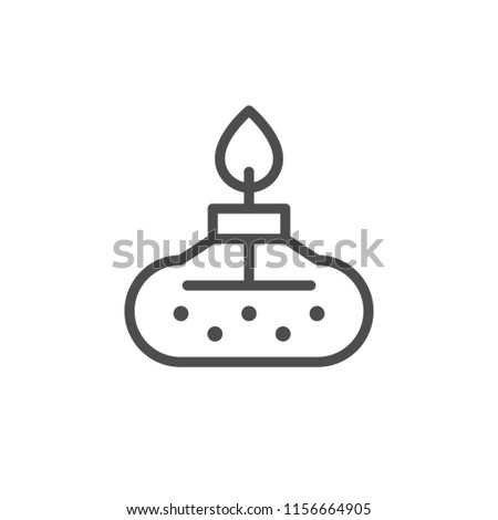 Chemical burner line icon isolated on white