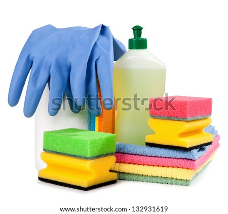 Chemical cleaning isolated on white isolated