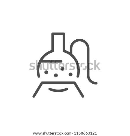 Chemical equipment line icon isolated on white