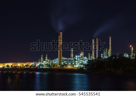 Chemical factory at night.