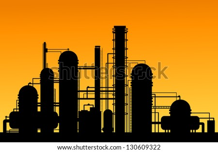 Chemical factory silhouette for industrial and technology design. Vector version also available in gallery