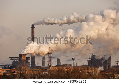 Chemical factory with smoke stack