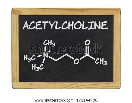 chemical formula of acetylcholine on a blackboard