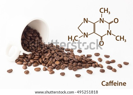 Chemical formula of Caffeine with roasted coffee spill out of cup on white background.