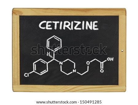chemical formula of cetirizine on a blackboard