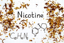 Chemical formula of Nicotine with spilled tobacco. Close-up.