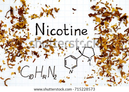 Chemical formula of Nicotine with spilled tobacco. Close-up. Stock photo ©