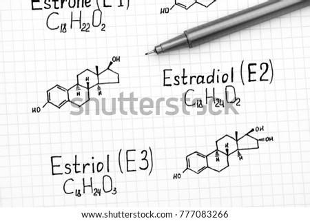 Chemical formulas of naturally occurring Estrogens - estrone (E1), estradiol (E2), estriol (E3) with black pen. Close-up.
