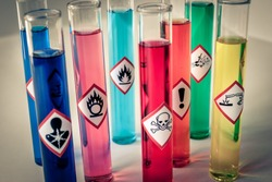 Chemical hazard pictograms desaturated