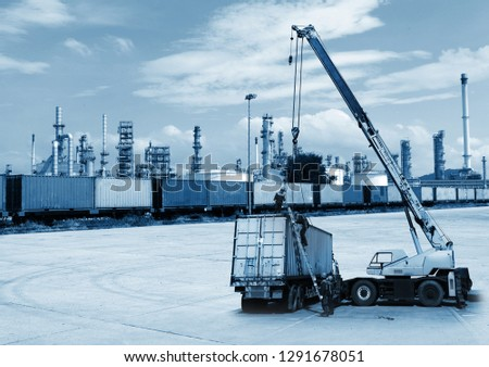 Chemical Industry, Storage Tank and Tanker Truck in Industrial Plant, Freight Train Backdrop oil refinery #1291678051