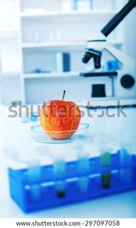 Chemical Laboratory of the Food supply.Food in laboratory, dna modify
