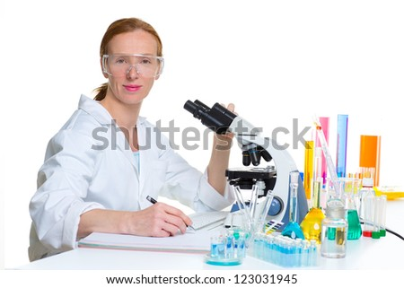 chemical laboratory scientist woman working portrait at work