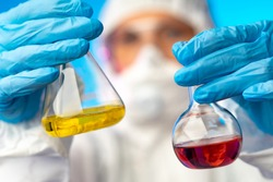Chemical laboratory. Study of chemicals. Study of chemical reagents. Chemical and analytical studies. Test tubes with colored liquids. Studies of the composition of available samples. Chemistry