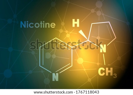Chemical molecular formula of nicotine. Connected lines with dots background Stock photo ©