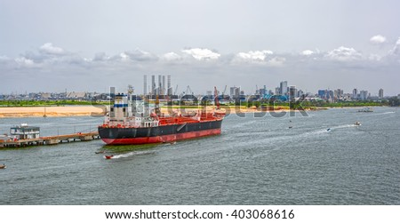 Chemical oil products Tanker (tankship) in ballast moored in Lagos, Nigeria, Africa