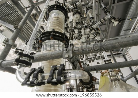 chemical plant in a technical hall