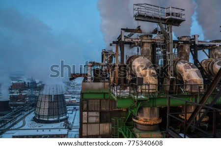 Chemical plant, pipe, building, complex of buildings, smoke, night #775340608