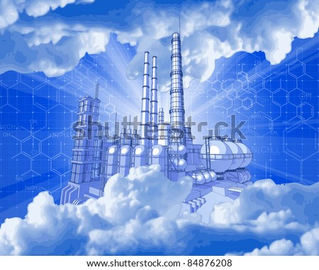 Chemical plant & technology background. Bitmap copy my vector ID 52829056