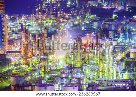 Chemical plants in Yokkaichi, Japan. stock photo