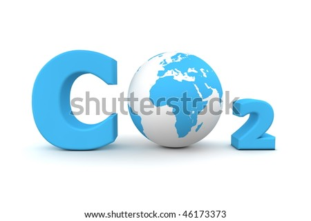 chemical symbol CO2 for carbon dioxide in blue - a globe is replacing the letter o - stock photo