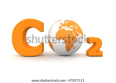 chemical symbol CO2 for carbon dioxide in orange - a globe is replacing the letter o